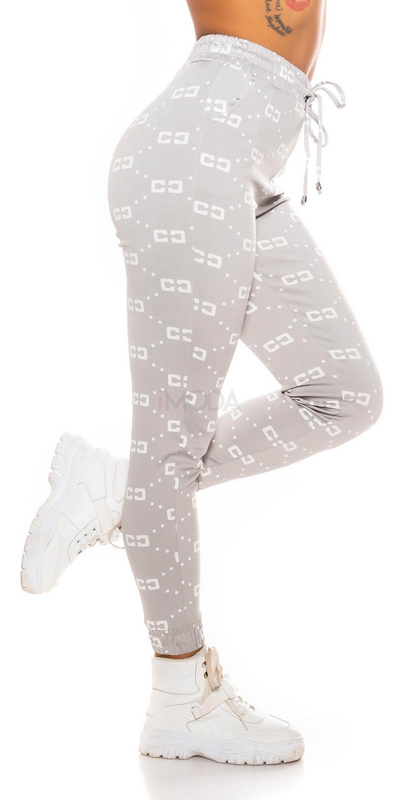 Sivé vzorované teplákové nohavice-229653-313
