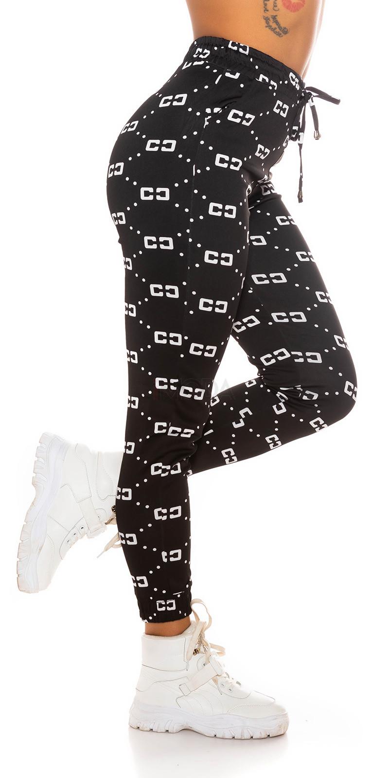 Čierne vzorované teplákové nohavice-229615-31