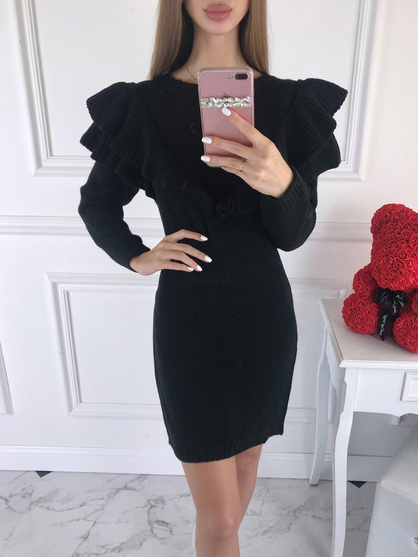 Čierne dámske pletené šaty-196156-313