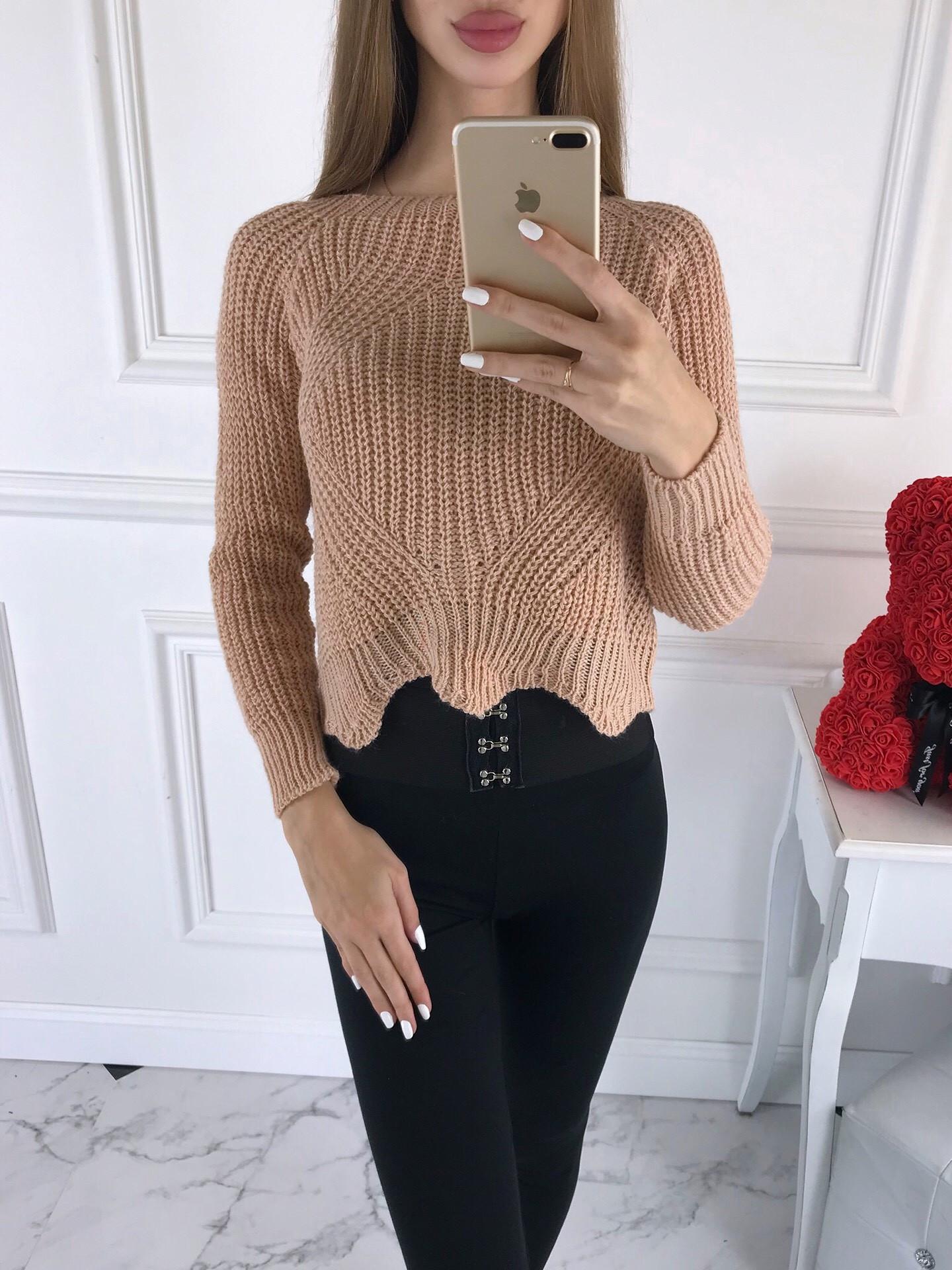 Dámsky krátky ružový sveter-196529-34