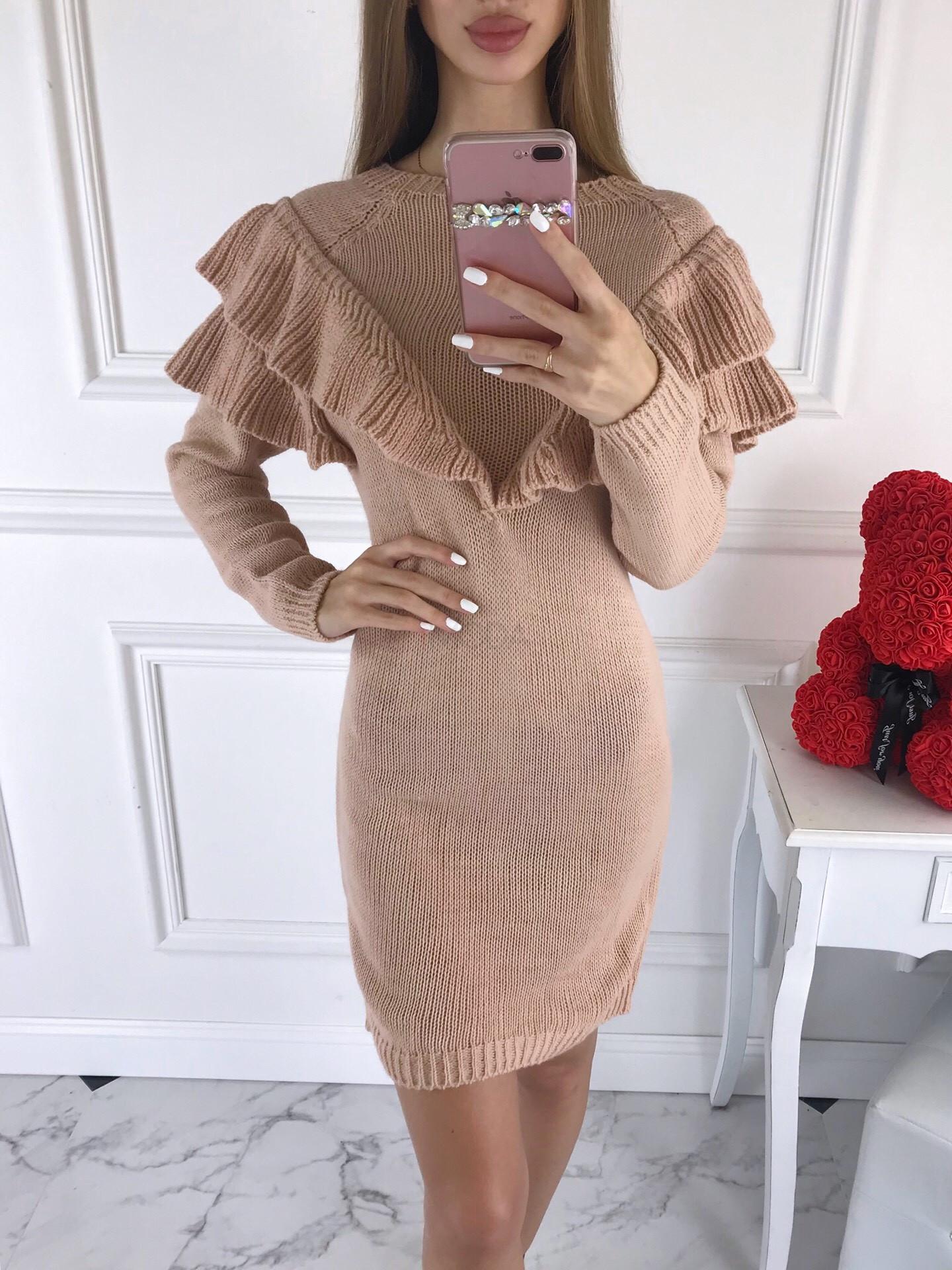 Ružové dámske pletené šaty-196154-38