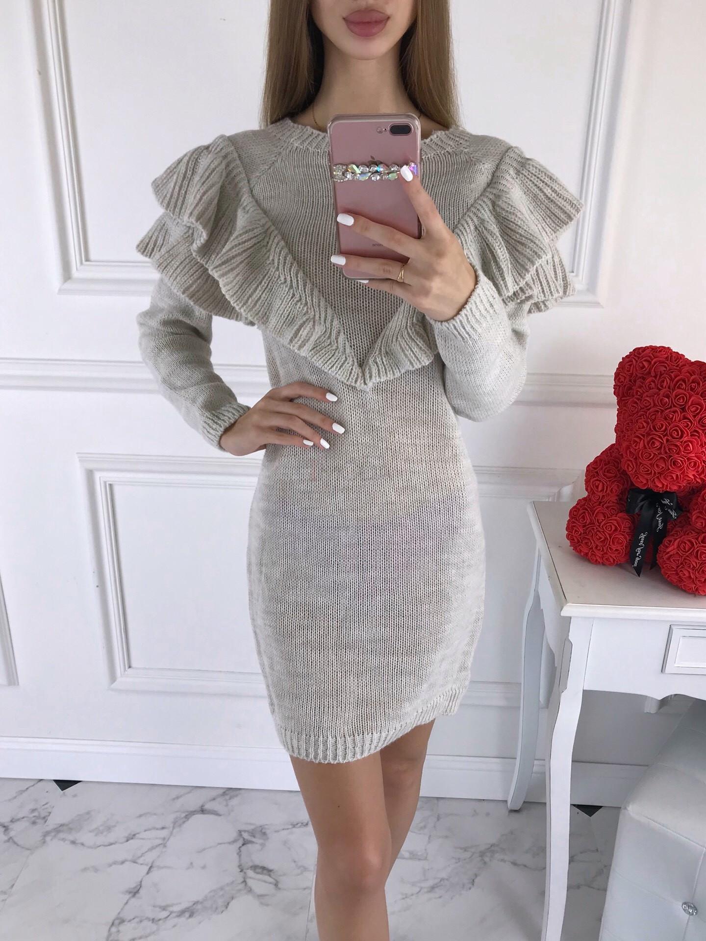 Béžové dámske pletené šaty-196153-35