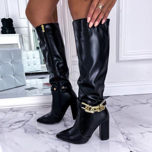 Čierne vysoké čižmy s ozdobou-255667-36
