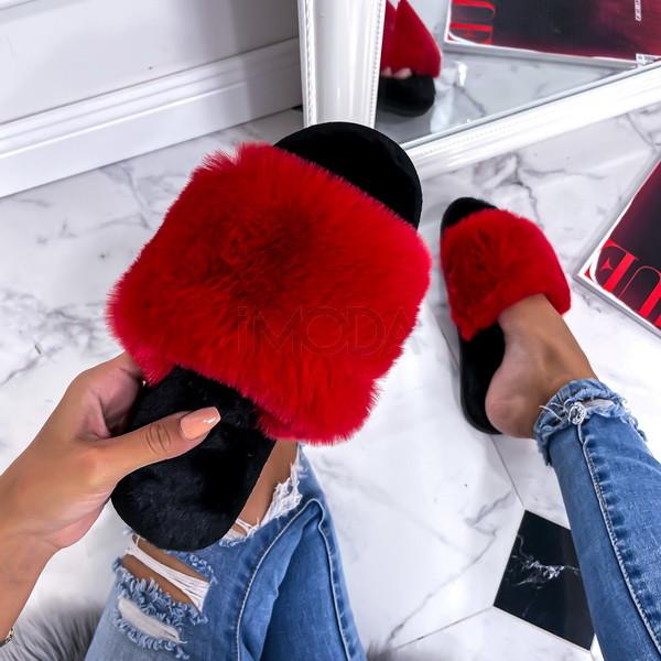 Červené kožušinové šľapky-255756-312