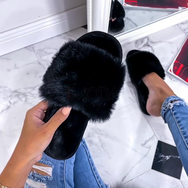 Čierne kožušinové šľapky-255765-316