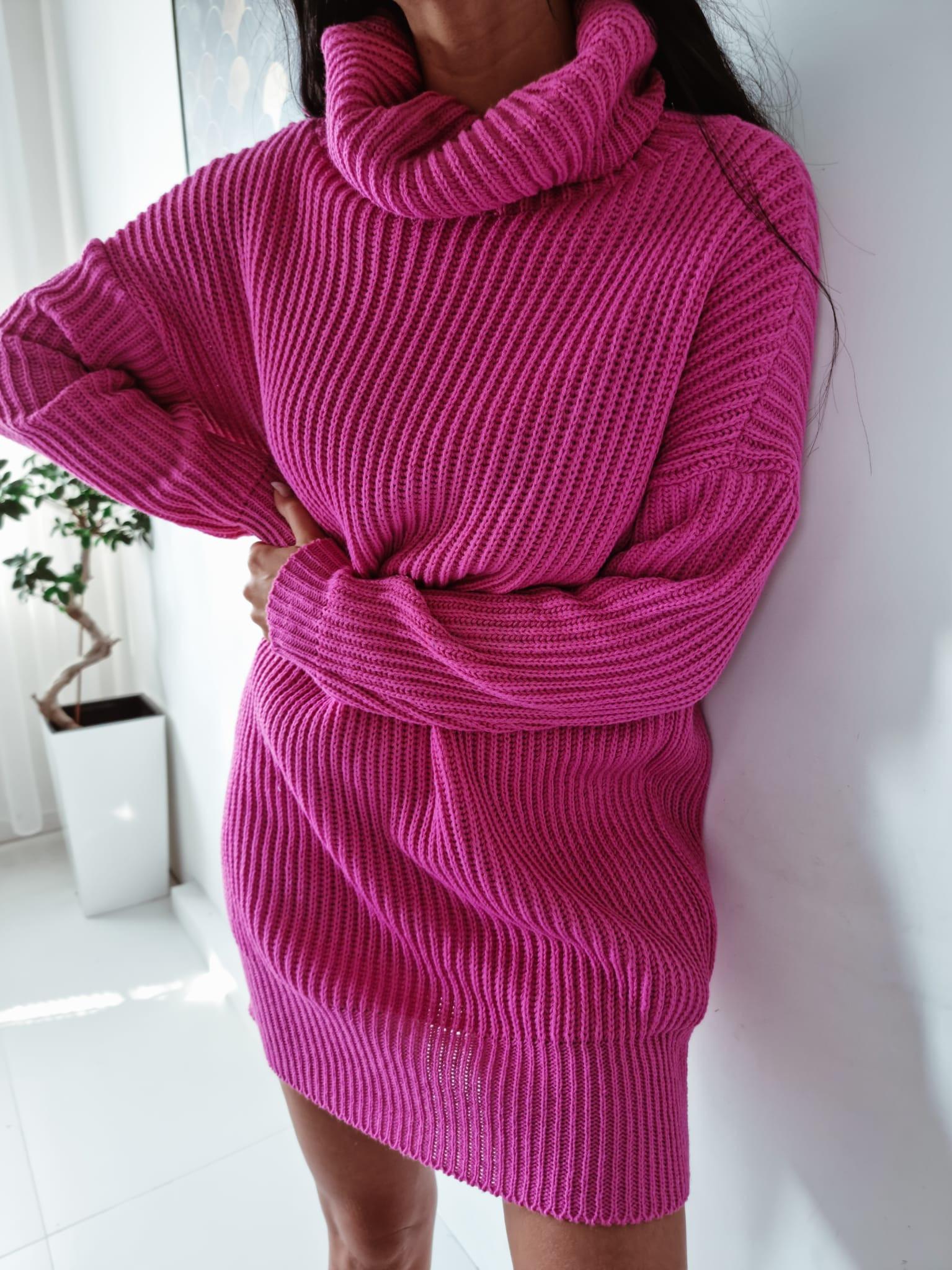 Ružový oversize sveter-255929-33