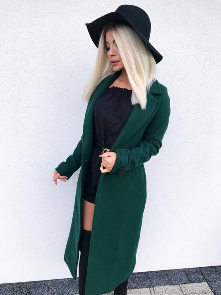 Dámsky zelený predlžený kabát-196896-326