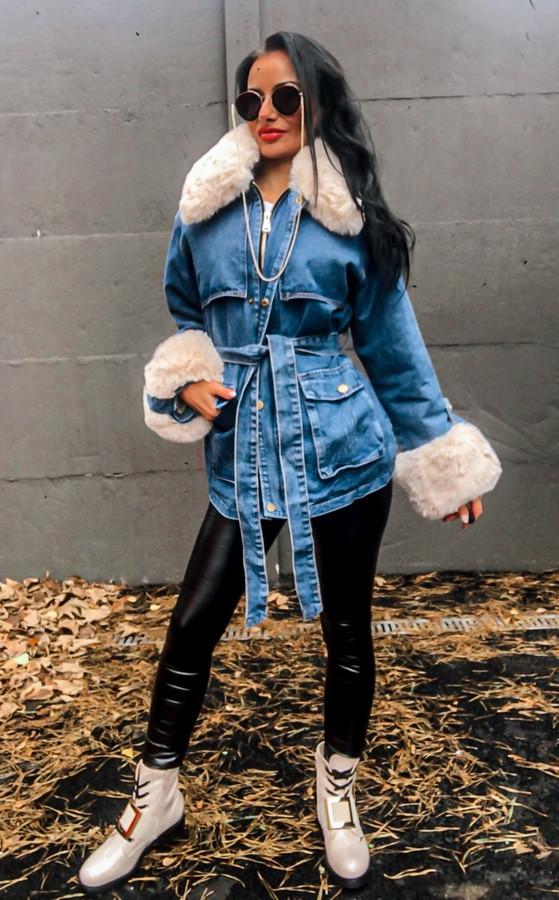 Modrá zateplená rifľová bunda s kožušinou-223401-36