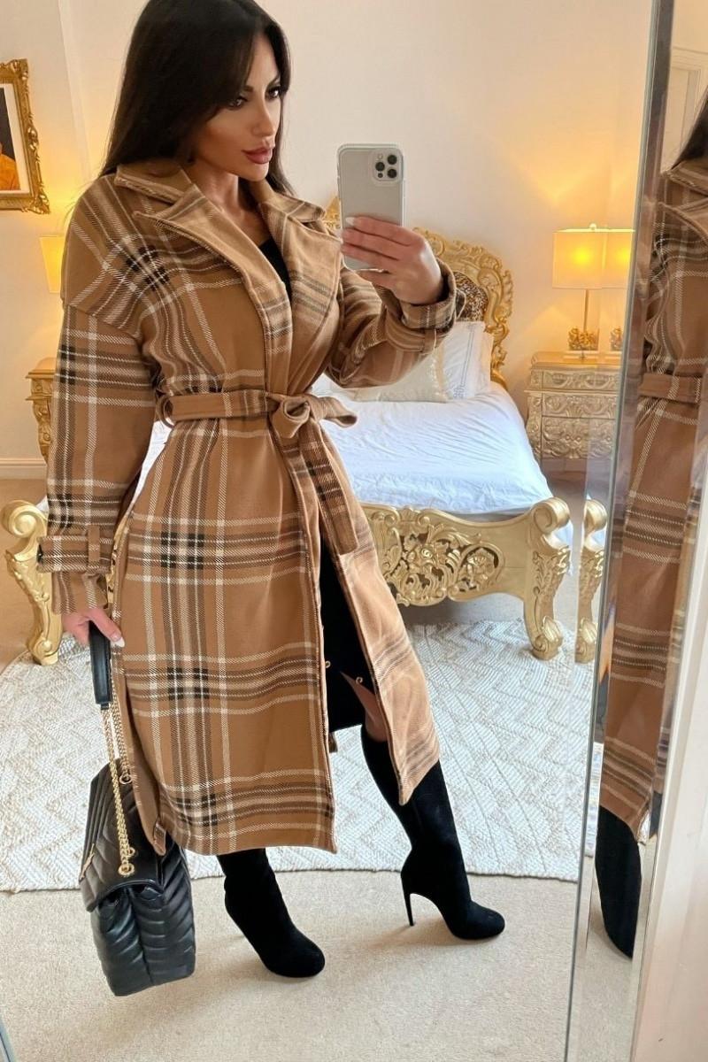 Camelový prechodný kabát-225818-33