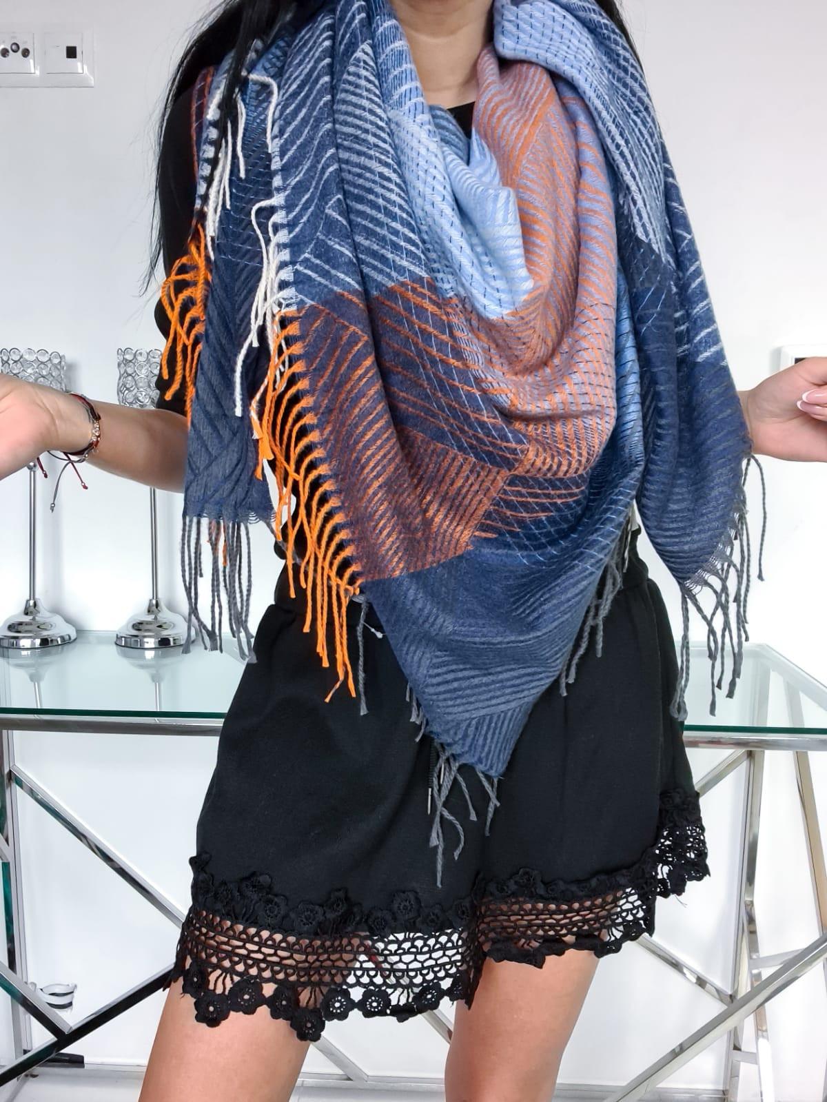 Modrý viacfarebný bavlnený šál-226133-33