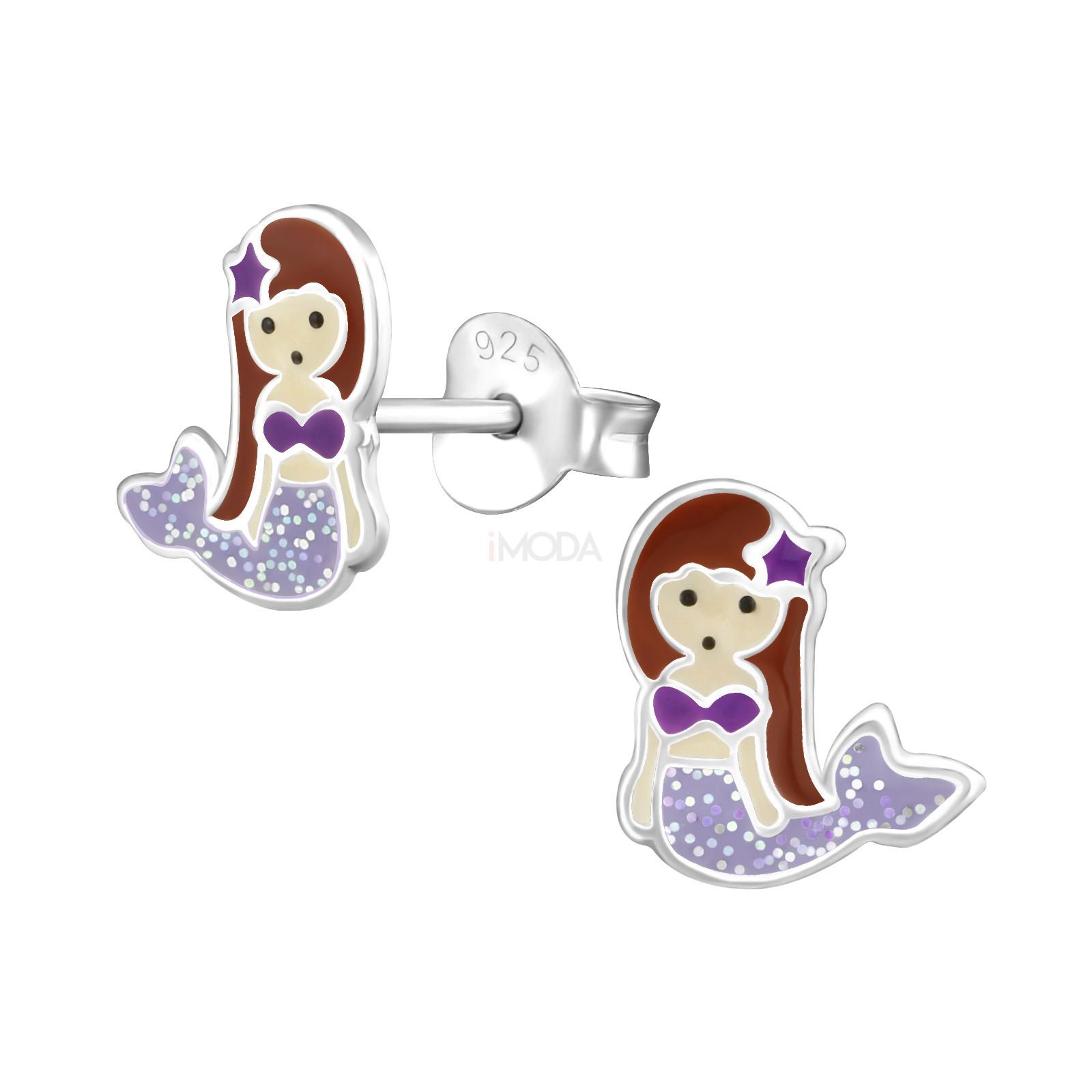 Detské strieborné náušnice morská panna-232046-31