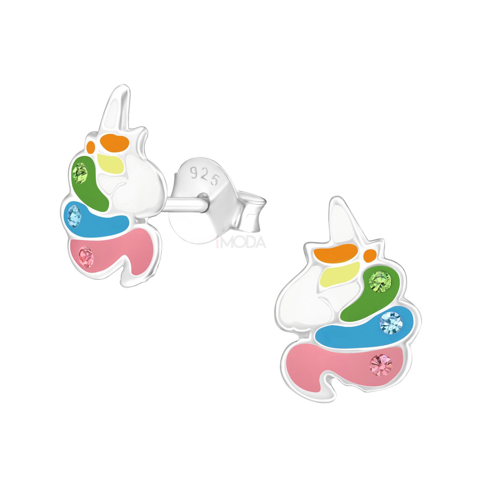 Detské strieborné náušnice jednorožec-232012-31