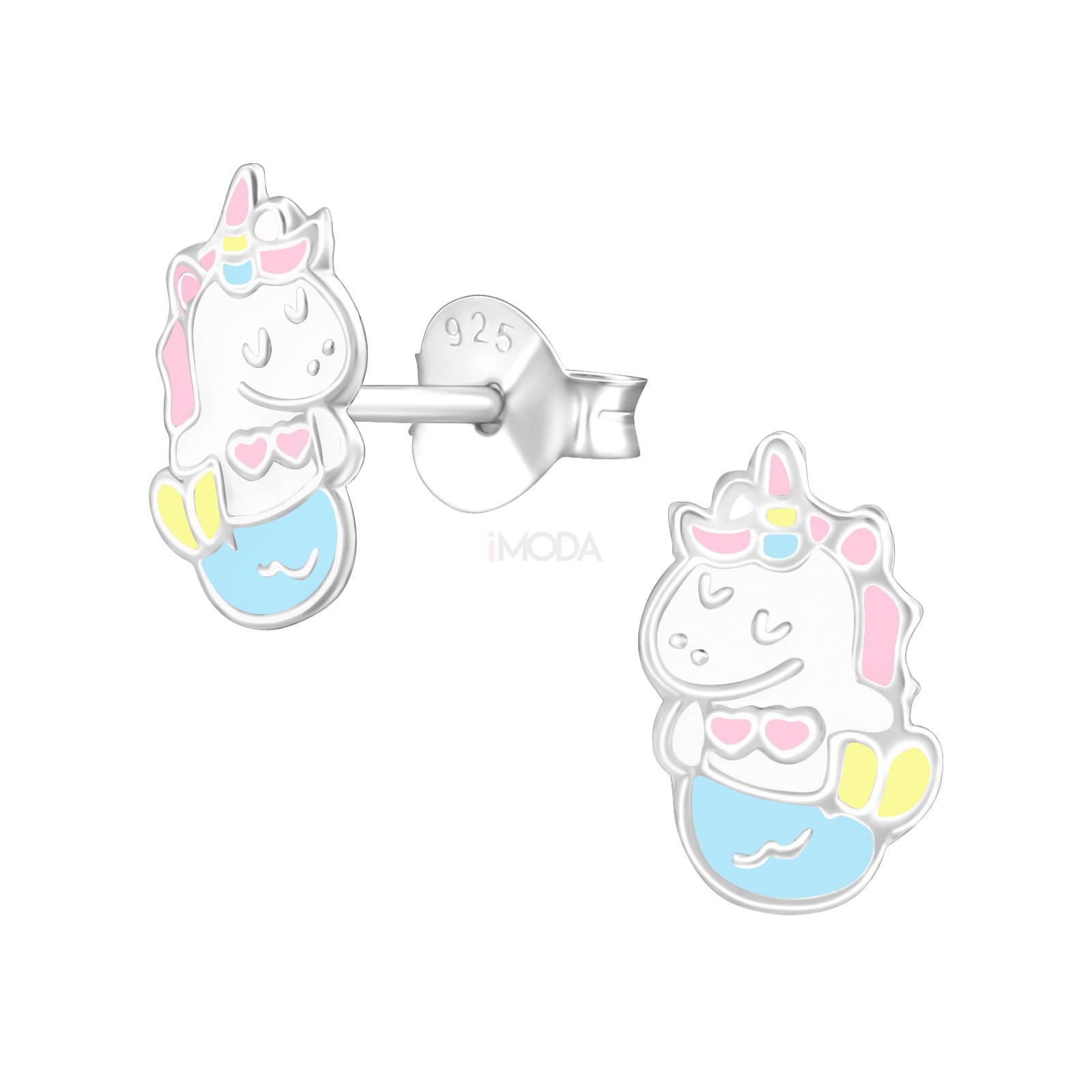 Detské strieborné náušnice jednorožec-232023-31