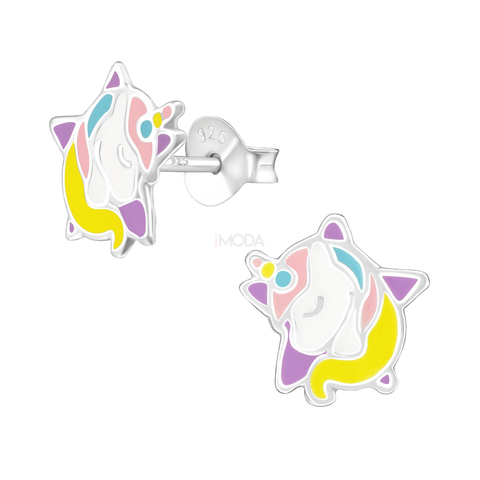 Detské strieborné náušnice jednorožec-232018-31