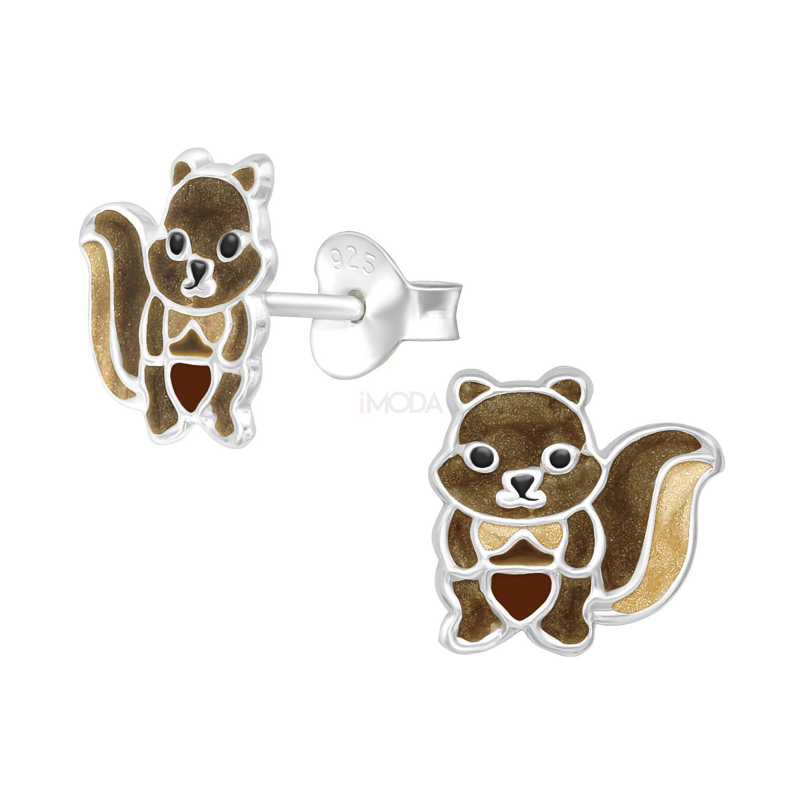 Detské strieborné náušnice veverička-232055-31