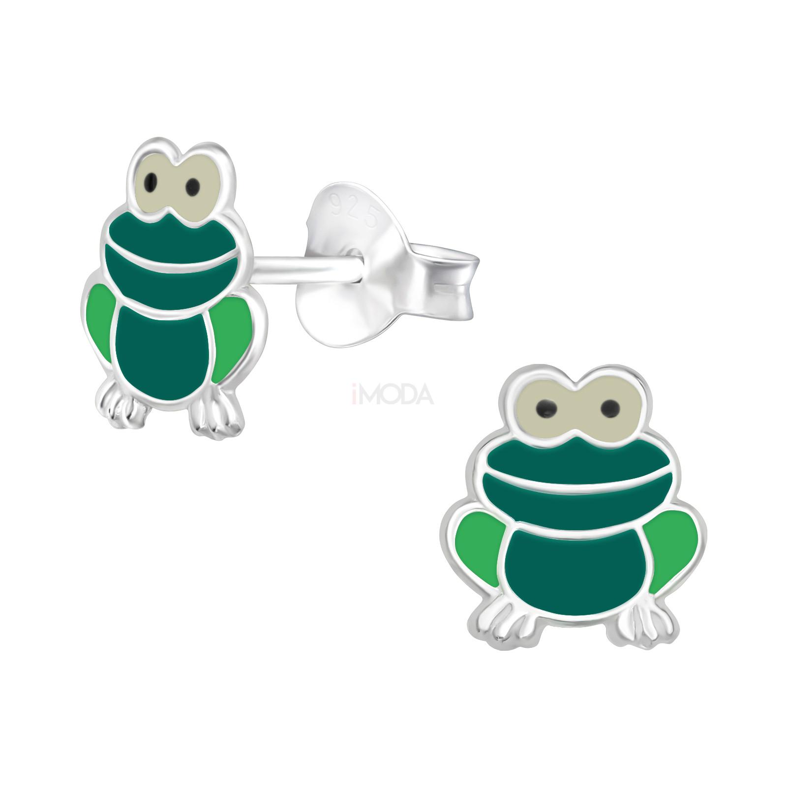 Detské strieborné náušnice žabka-232038-31
