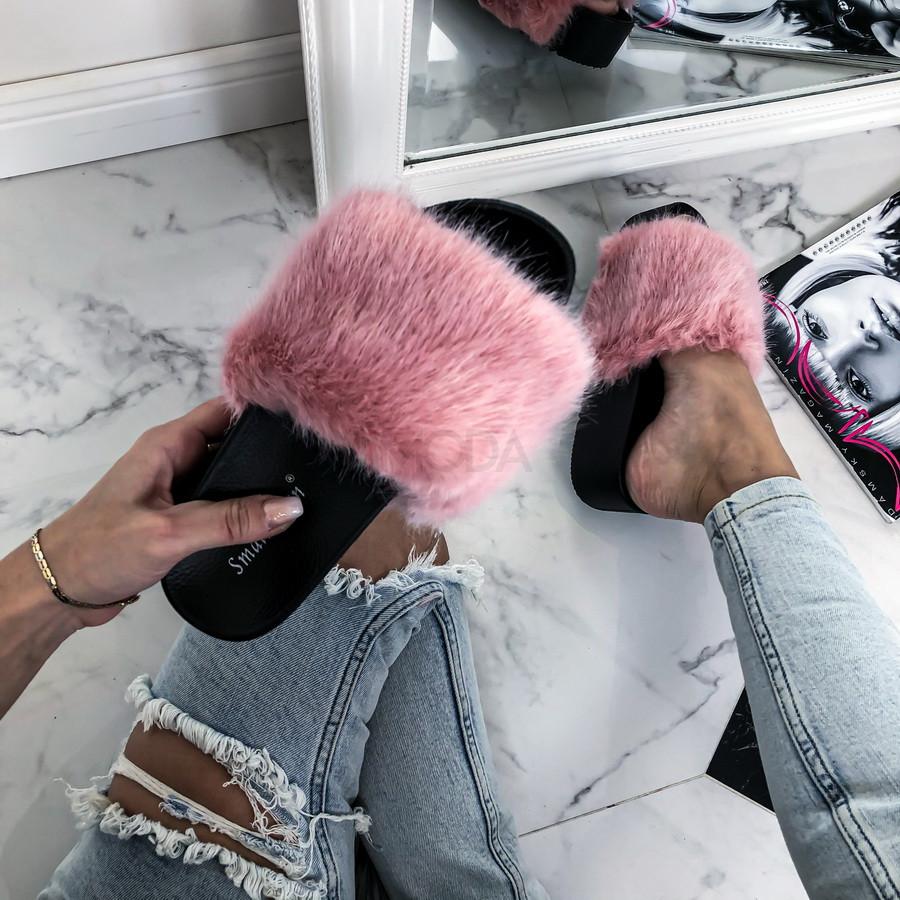 Ružové kožušinové šľapky na platforme-226280-32
