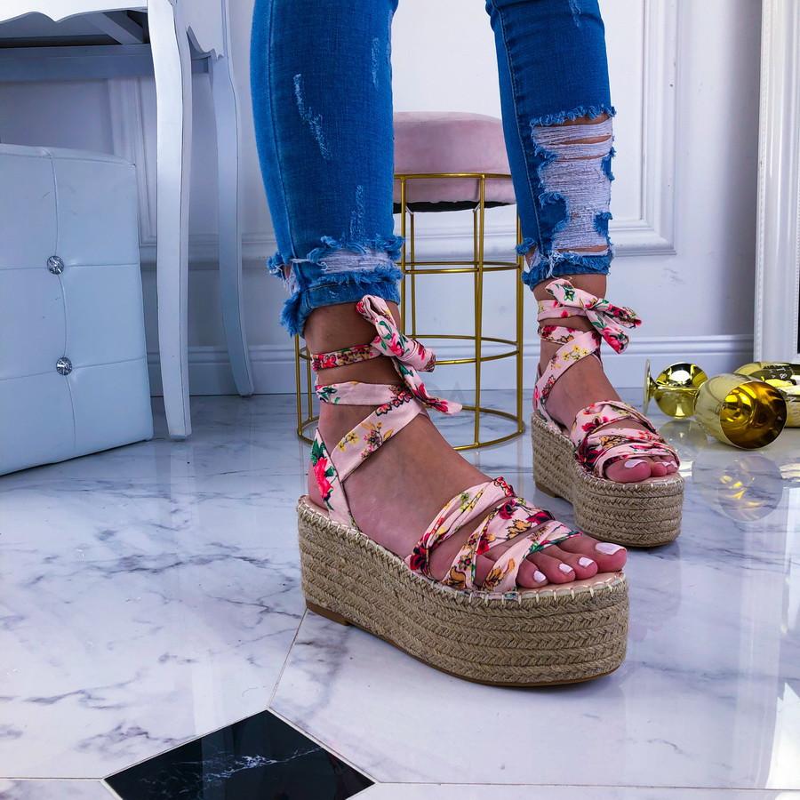 Ružové kvetované sandále na platforme-209668-31