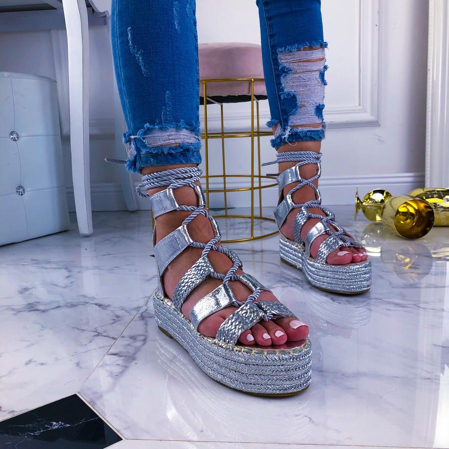 Strieborné dámske sandálky-209428-33