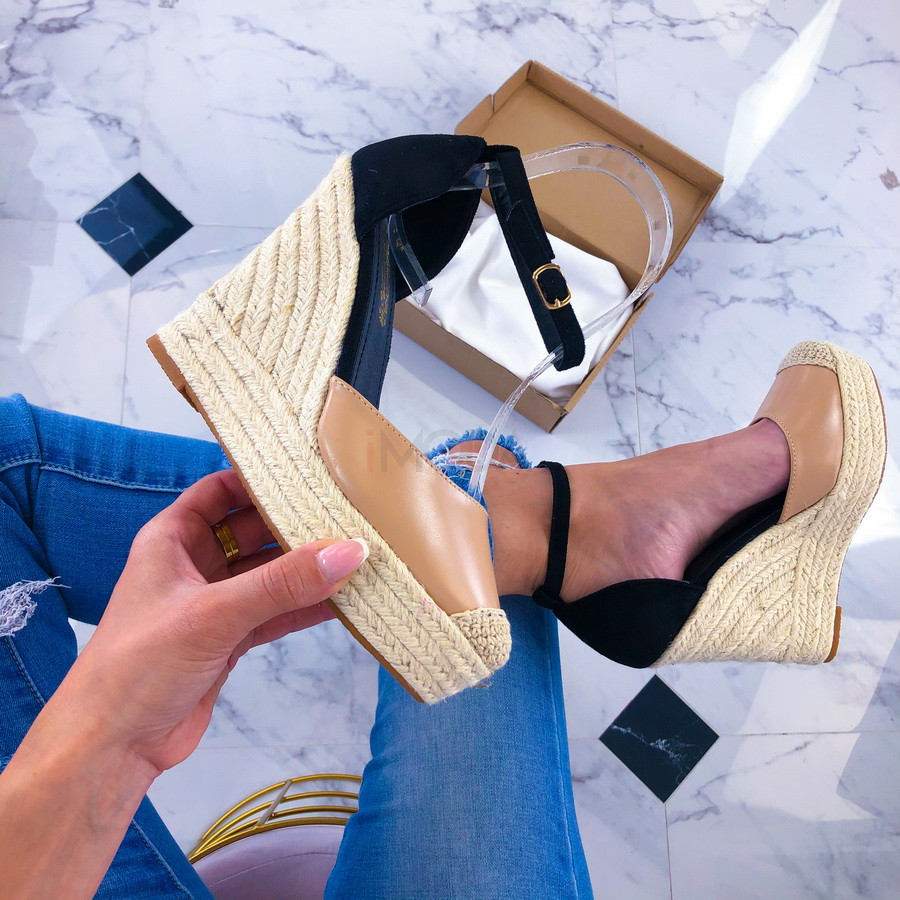 Béžovo-čierne sandálky na platforme-209820-31