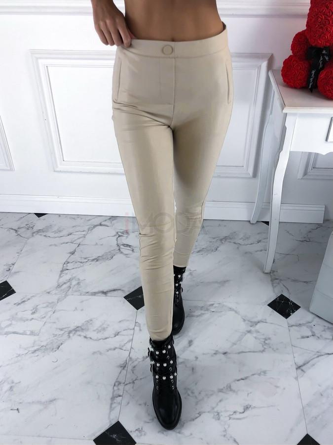 Béžové jemne zateplené koženkové nohavice-220743-32