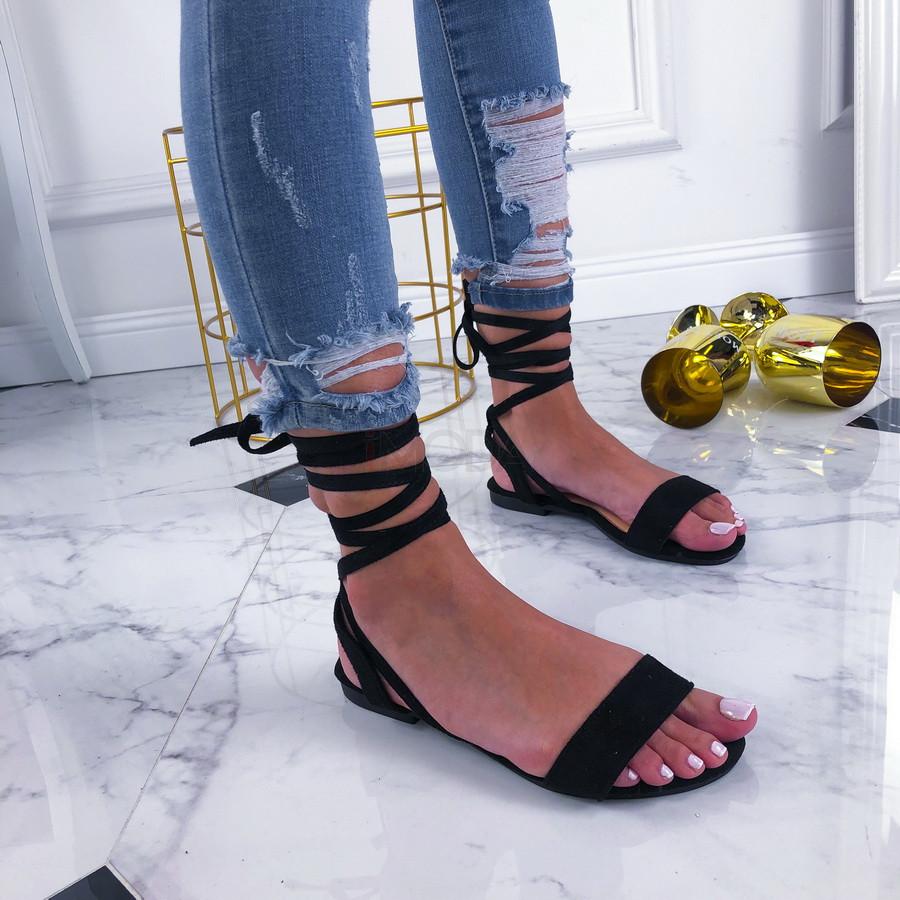 Čierne šnurovacie sandále-210250-32