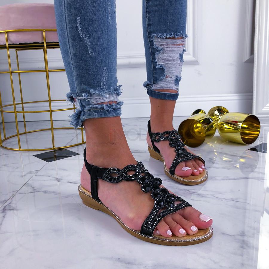 Čierne dámske sandálky zdobené kamienkami-210114-31