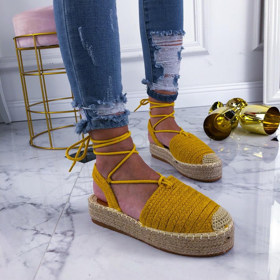 Žlté šnurovacie sandálky-210137-34