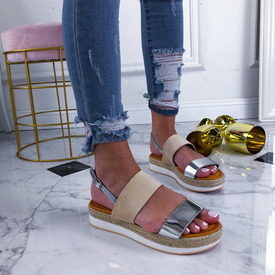 Béžovo-strieborné sandálky na platforme-210349-31