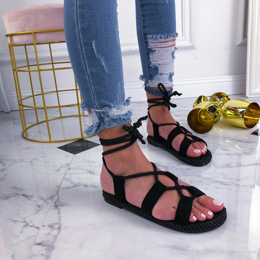 Čierne šnurovacie sandálky-210201-34