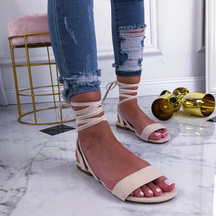 Béžové šnurovacie sandále-210257-34
