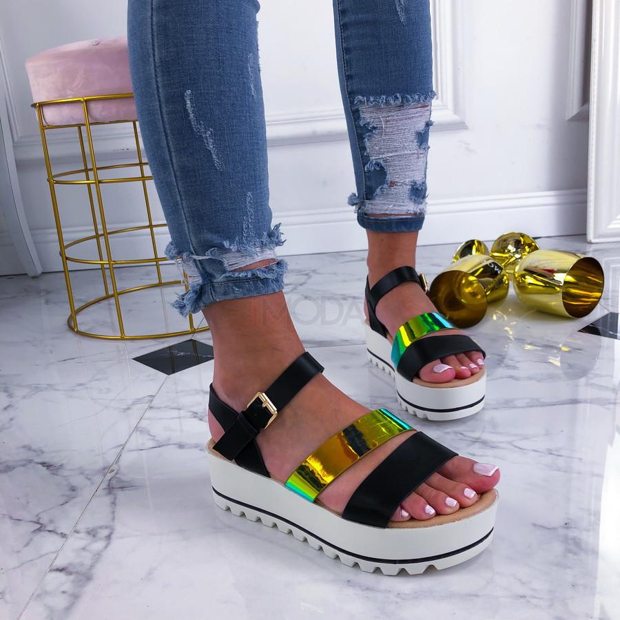 Čierme sandálky na platforme-210182-31