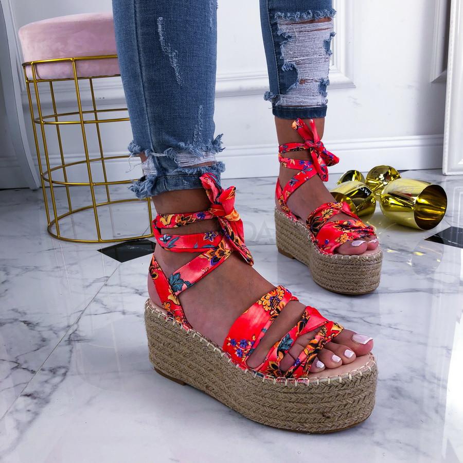 Červené kvetované sandále na platforme-210283-33