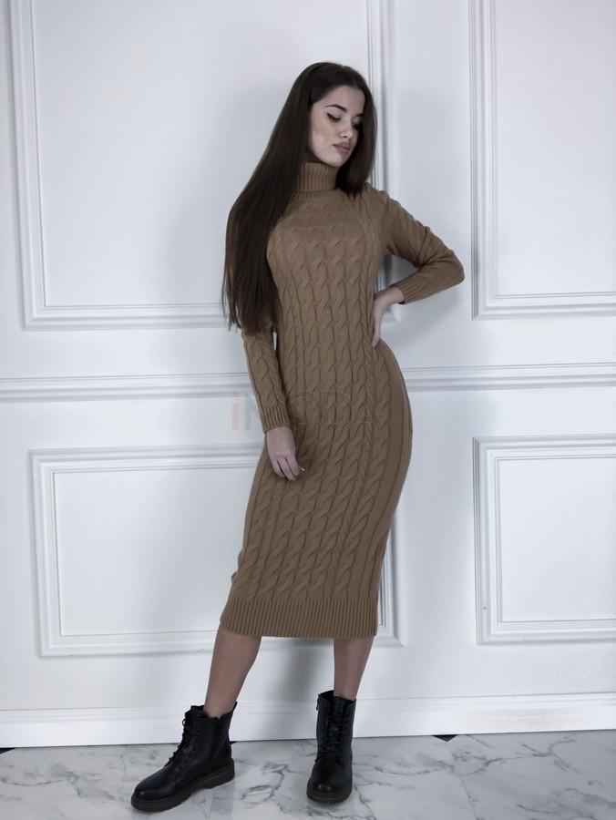Hnedé dlhé pletené šaty-225486-31