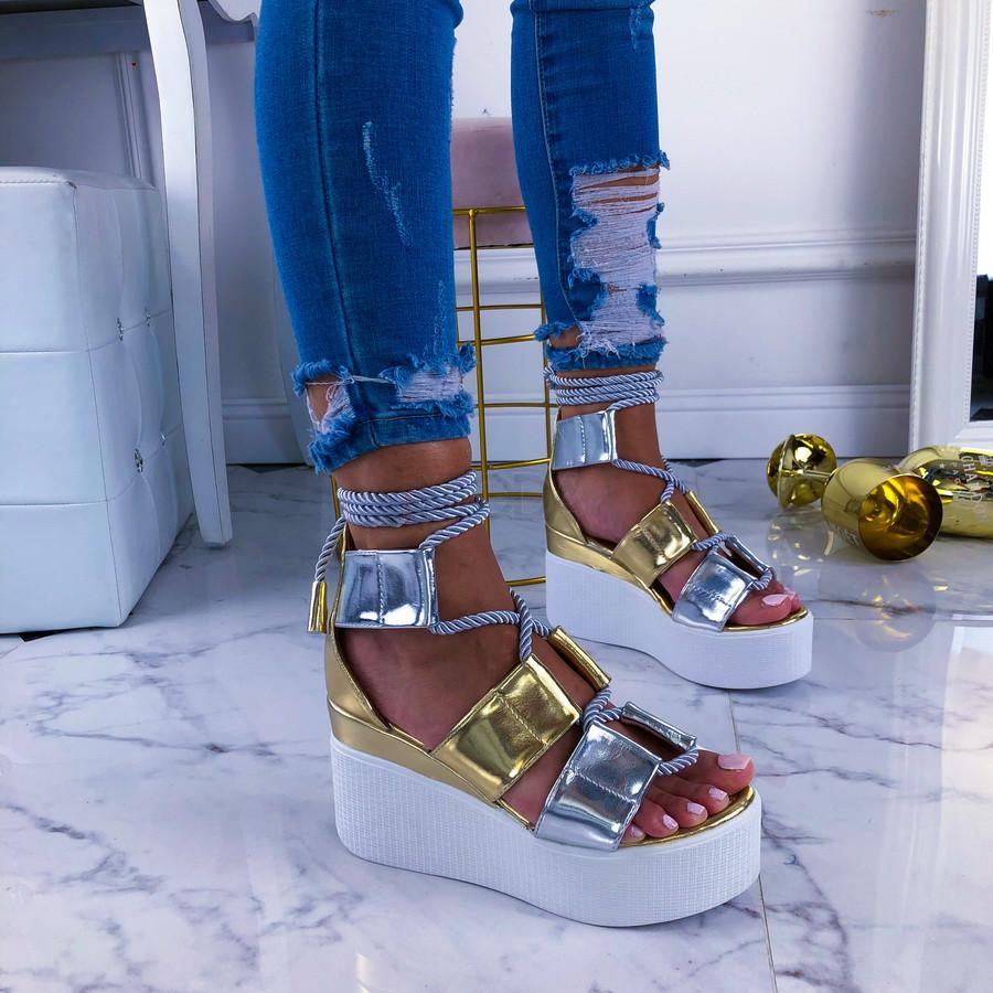Zlaté sandále na platforme-211084-31