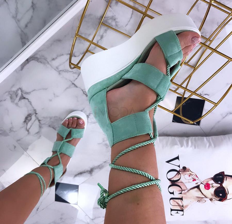 Zelené sandálky na platforme-205739-33