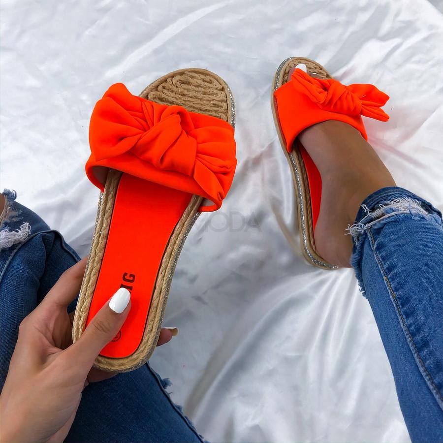 Neónovo-oranžové dámske šĺapky-212066-310