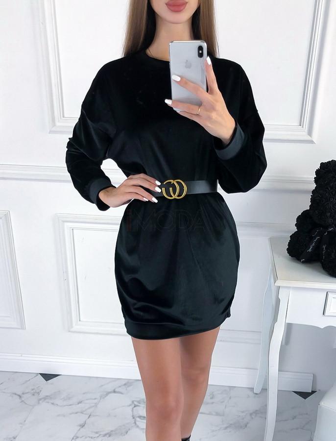 Čierne zamatové šaty s opaskom-223434-34