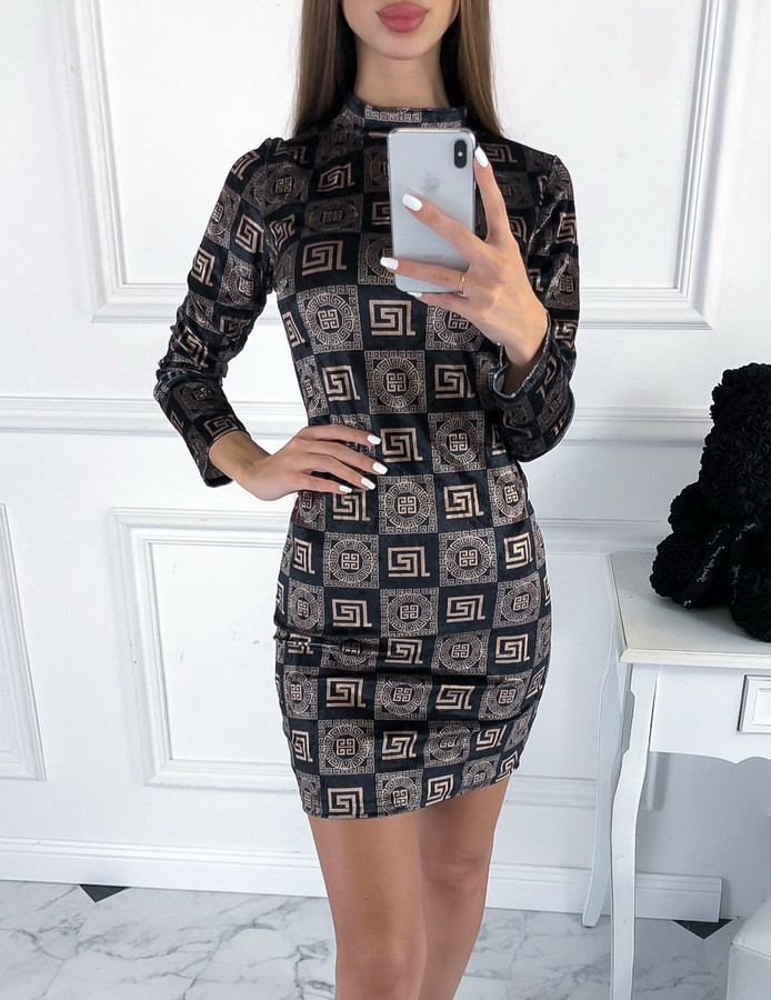 Čierno zlaté vzorované zamatové šaty-223440-38