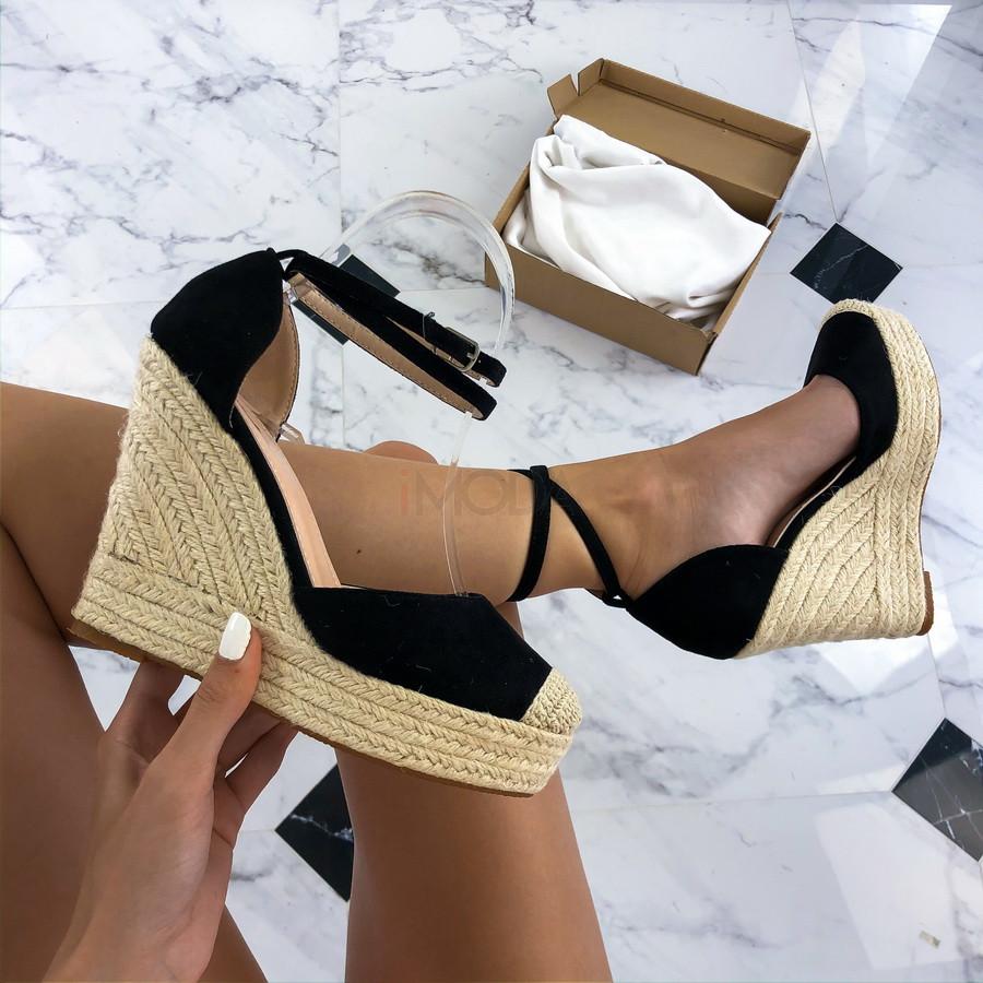 Čierne sandále na platforme-212498-35