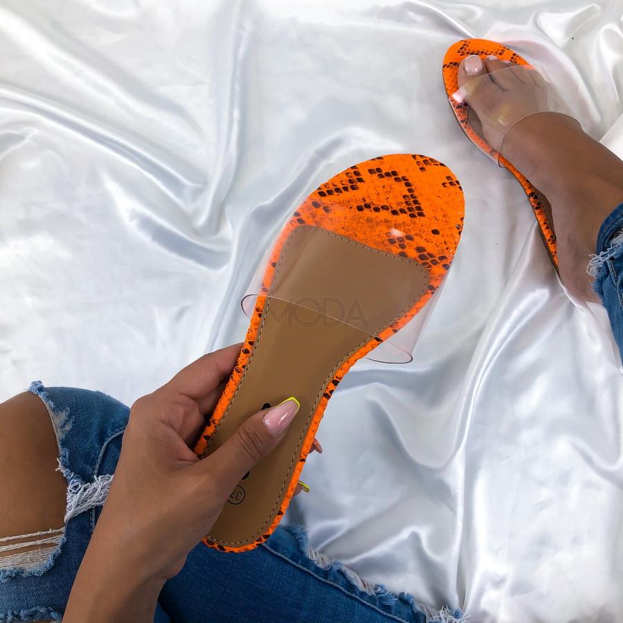Oranžové šľapky s hadím vzorom-213370-32