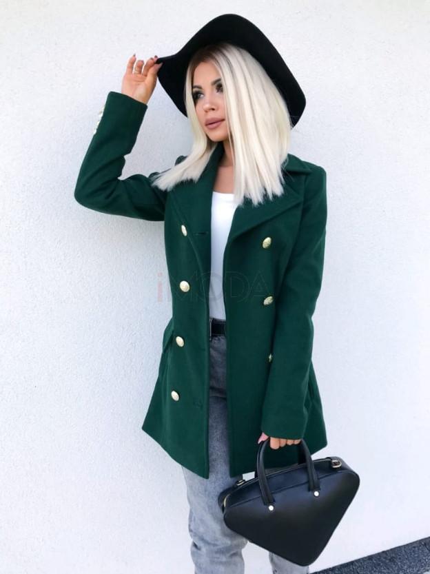 Dámsky zelený elegantný kabát-195570-38