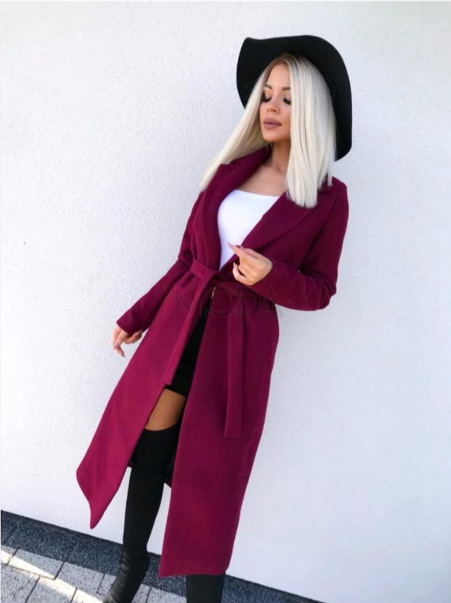 Dámsky bordový predlžený kabát na viazanie-196919-32