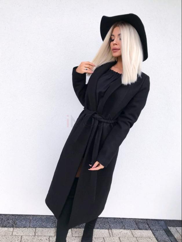 Dámsky čierny predlžený kabát na viazanie-196936-38