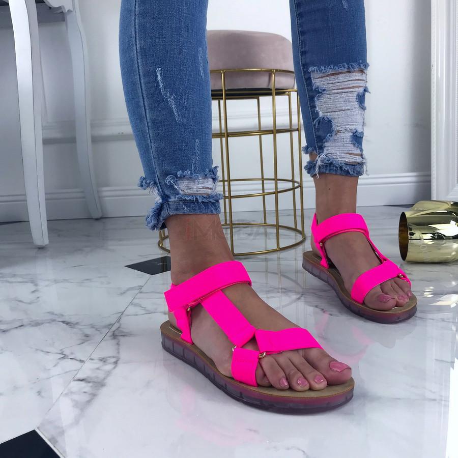 Neónové cyklamenové pohodlné sandálky-207501-33