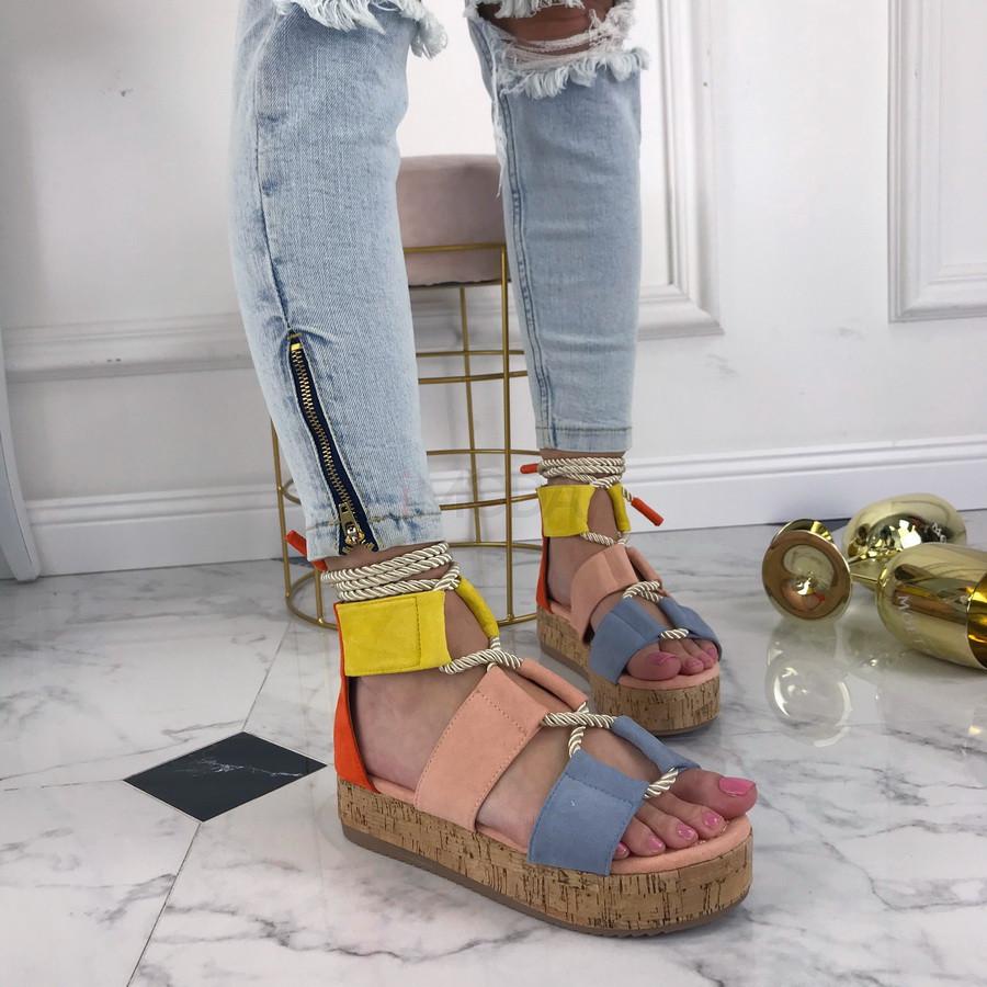 Farebné sandálky na platforme-207480-33