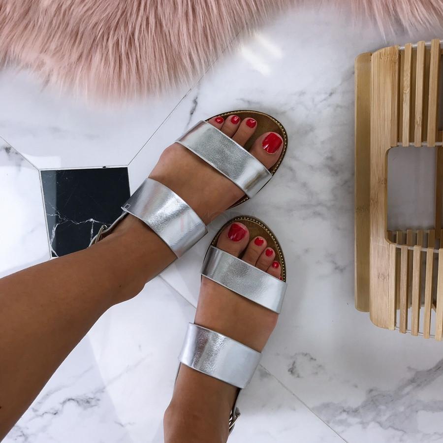 Letné sandálky striebornej farby-186781-36