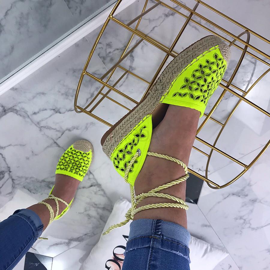 Dámske neónovo-zelené šnurovacie sandálky-200462-34