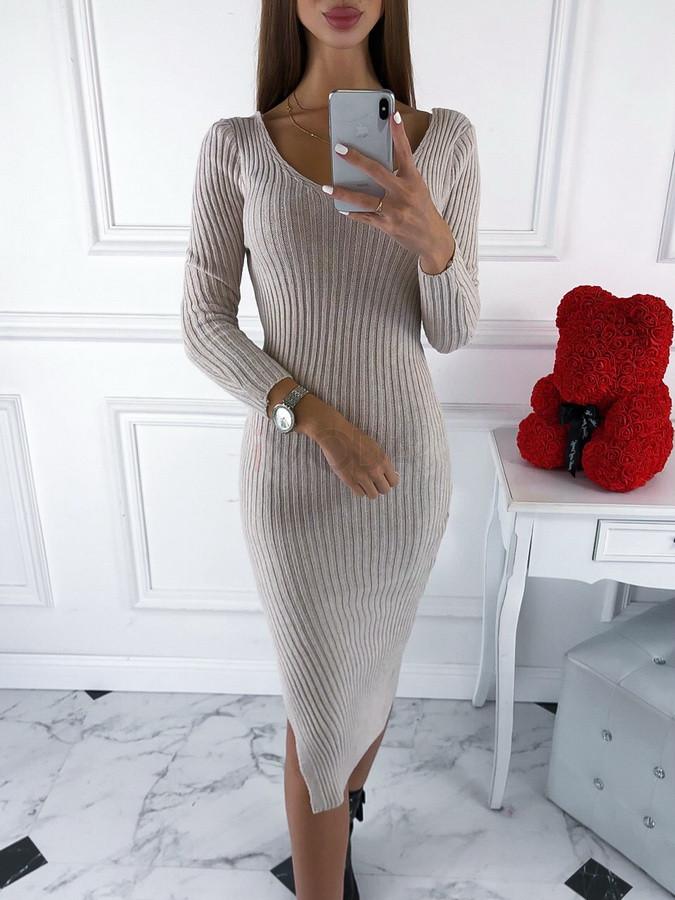 Béžové pletené šaty-220097-34