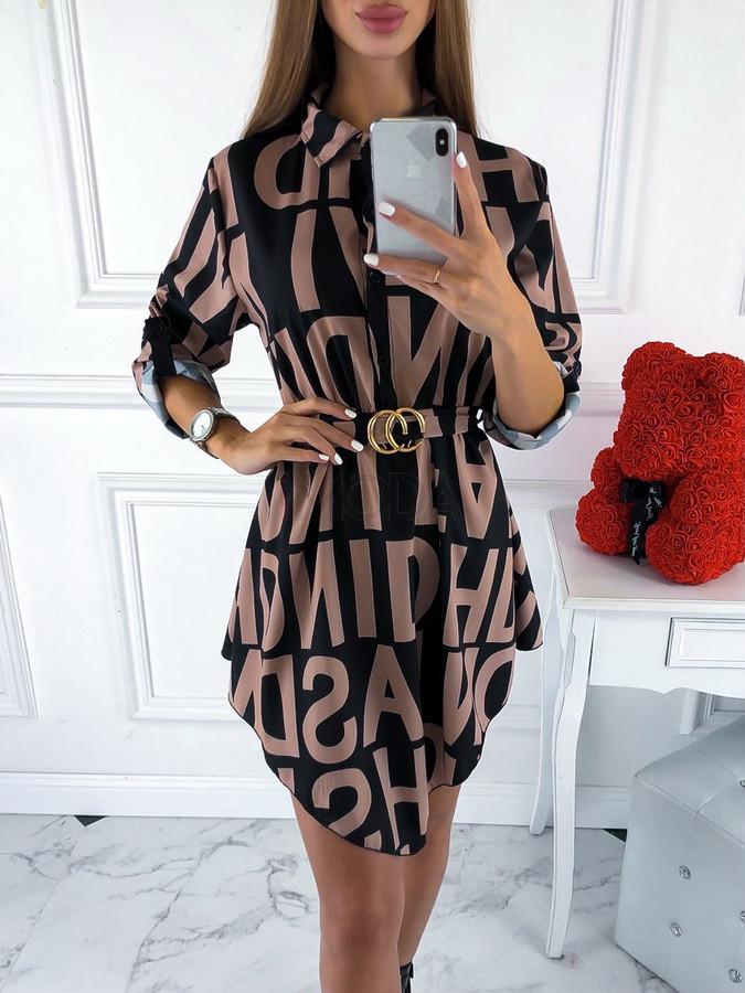 Hnedo-čierne šaty so vzorom-220100-31